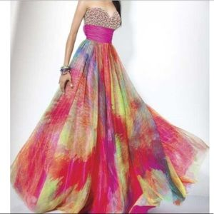 Jovani Rainbow Prom Dress with bow in back